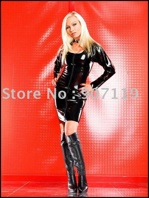 a6f8d7d8e 100%Latex Rubber fetishism/Dress / Black long-sleeved dress / do not  include the neck ring