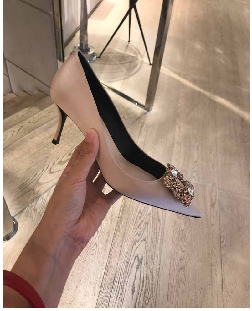 Escarpins Femme 2018 Fashion Shoes Woman High Heel Silk Leather Crystal Blue Red Wedding Party Bridal Runway Pumps Pointed Toe