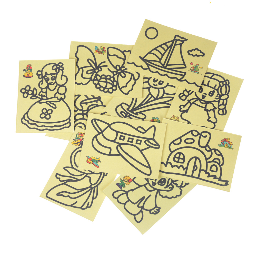 New 10pcs/lot Cute Colorful Children Kids Drawing Toys Sand Painting Pictures DIY Crafts Education Toy For Kid DIY Education Toy