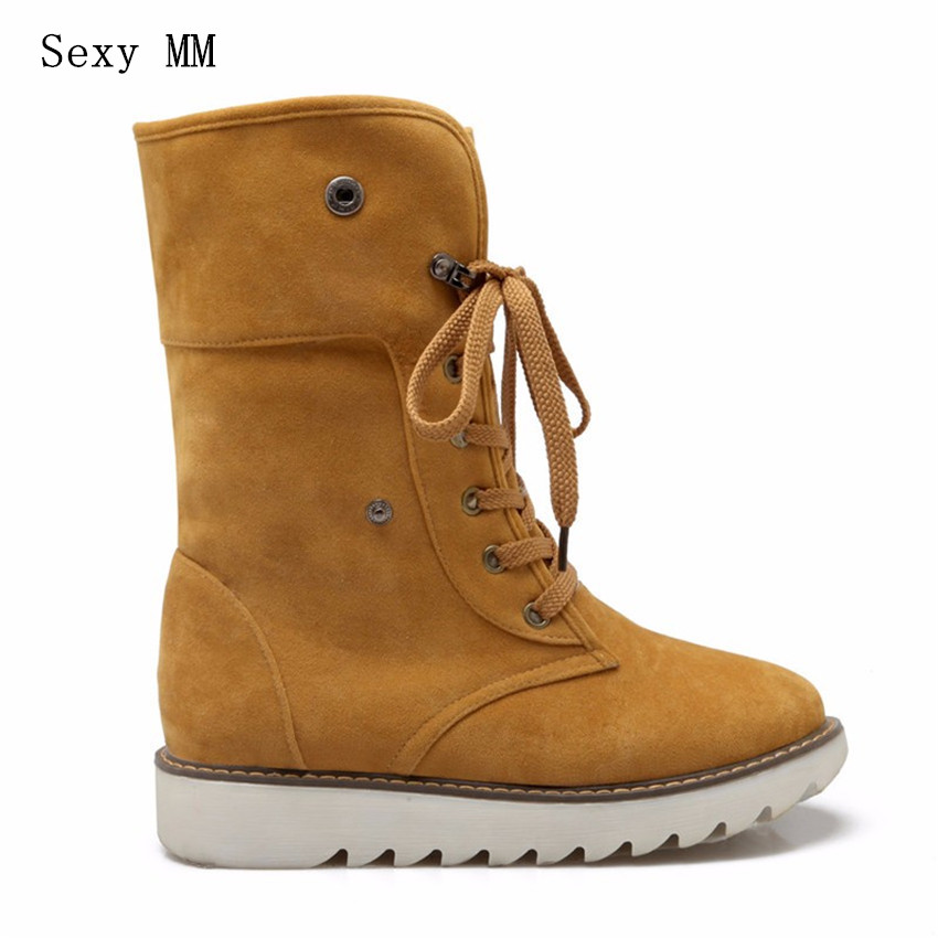 High Quality Winter Flat Women Mid Calf Snow Boots Lace Up Woman Short Boots Nubuck Leather Plus Size 34-40,41,42,43 botas botte