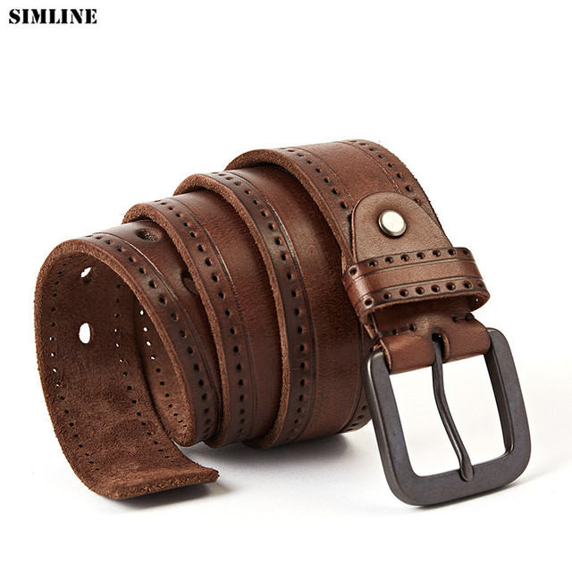 4e1d254e27f6b High Quality Genuine Leather Belt Men Real Cowhide Pin Buckle Luxury  Designer Male Belts Vintage Fashion Jeans Strap For Man