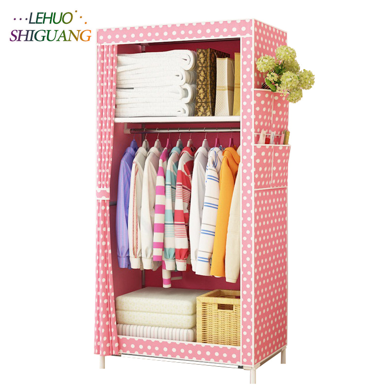 Dormitory single wardrobe Non-woven Steel frame reinforcement Standing Storage Organizer Detachable Clothing Closet furniture students in bed wardrobe non woven steel frame reinforcement standing storage organizer detachable clothing closet furniture