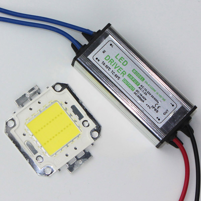 DIY 20W High Power LED flood Light COB chip + AC / DC 12V input LED floodlight power supply Led driver free shipping 90w led driver dc40v 2 7a high power led driver for flood light street light ip65 constant current drive power supply