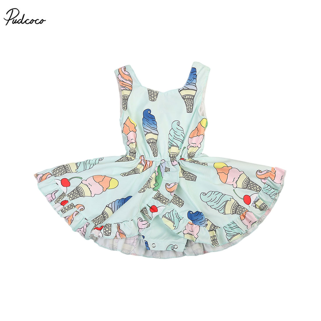Lovely Newborn Baby Girls Ice Cream Romper Rok Mouwloos Jumpsuit playsuit 2017 New Summer Outfits
