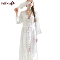 Sexy Summer V-Neck Bath robe Nightgown Sleepwear Dress Night Gown Nightdress Night Wear Women White Lace Nightgowns Women Q6