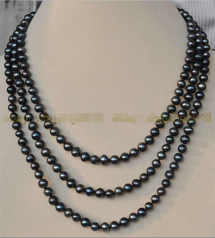 FREE SHIPPING>>> NEW 3 ROWS 6 7MM BLACK TAHITIAN CULTURED PEARL JEWELRY NECKLACE 17 20 AAA^^^@^Noble style Natural Fine jewe FR