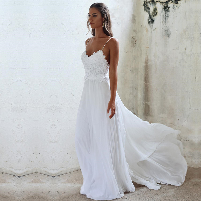 Simple Lace Wedding Dress Cheap Informal Bride Dress Half: Sexy Backless White Chiffon Wedding Dresses 2017 Boho