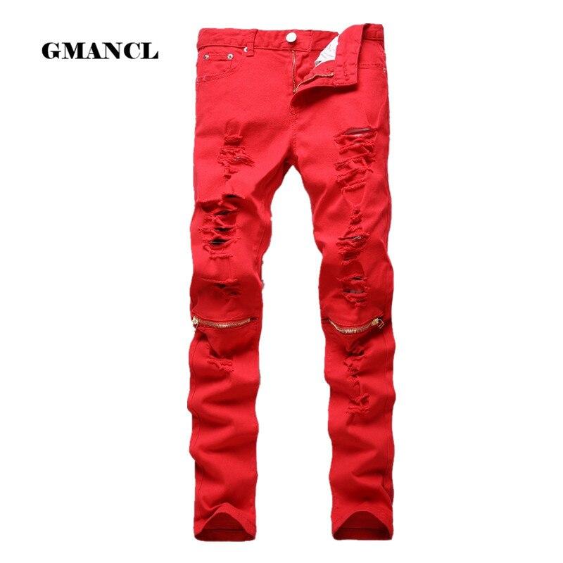 Nova moda dos homens rasgado biker jeans 100% algodão vermelho preto branco magro ajuste calças de brim da motocicleta dos homens buraco magro denim corredores calças