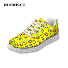 WHEREISART Sneakers Woman Cartoon Emoji Casual Walking Shoes 2019 New Spring Ladies Flats Breathable Mesh Girls Zapatos de Mujer