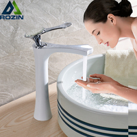 White Chrome Countertop Bathroom Basin Sink Faucet Deck Mount Brass Lavatory Sink Mixer Taps Single Handle