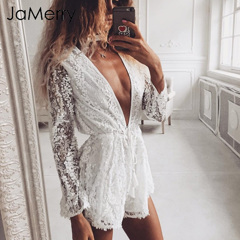 JaMerry Hollow out halter sexy   jumpsuit   romper Women lace sequined white   jumpsuit   femme Summer v neck beach playsuit overalls