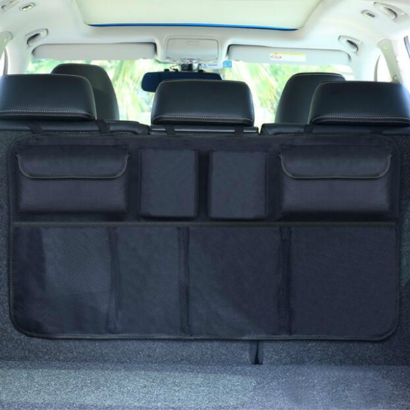 Car Trunk Organizer Adjustable Backseat Storage Bag Net High Capacity Multi-use Oxford Automobile Seat Back Organizers Universal(China)