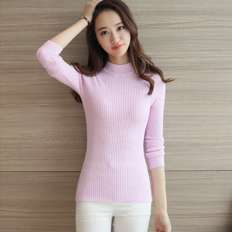 6b9503d23a 2018 New Women Sweater Korean Half Turtleneck Pullover Solid Cashmere Slim  Elastic Sweaters Female Bottoming Knitted Pullovers-in Pullovers from  Women s ...