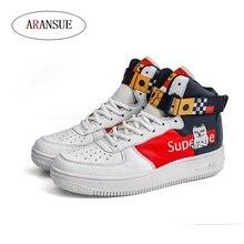 ARANSUE New Men's Leisure Vulcanized Shoes Cartoon design pattern Anti-skid high-top outdoor sneakers Big Size Hip-hop Shoes