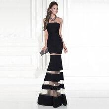 Mode Vestido de Noite Schlanke Satin Abendkleider 2016 Sexy Strapless Multi Intervall See-through Mermaid Formale Kleid