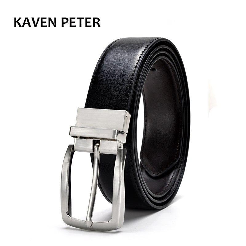 Men Reversible Buckle   Belt   Luxury Leather   Belt   Men Brand Real Leather 35mm Designer   Belt   For Men Nickle Gold Buckle