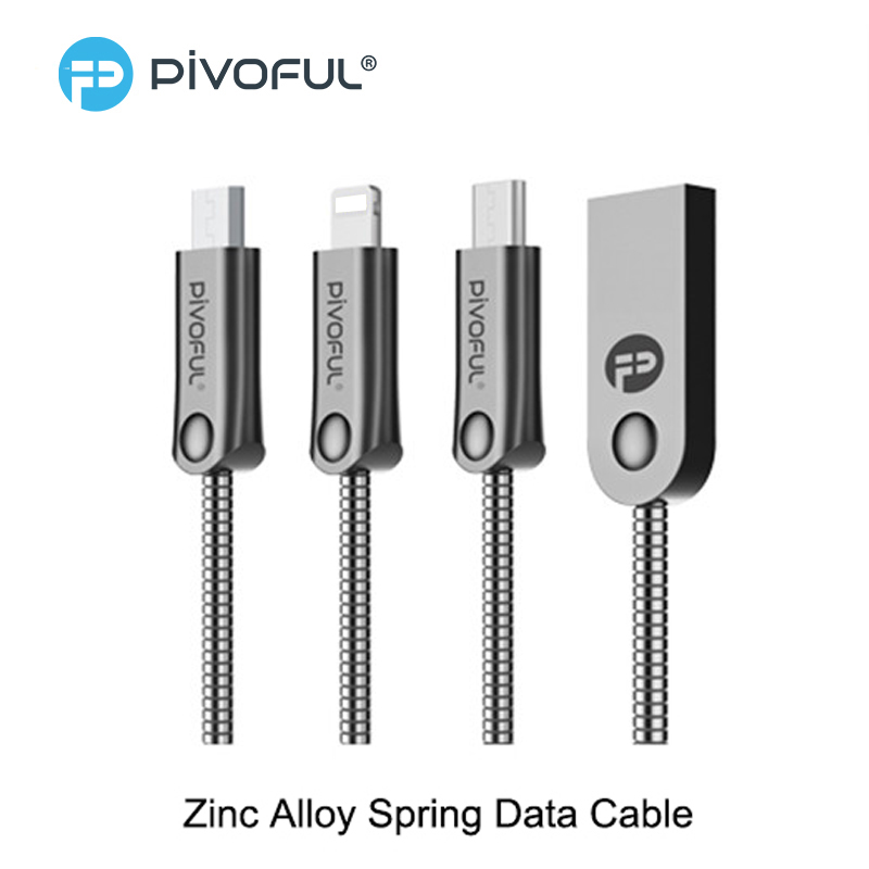 Pivoful Spring Phone Cable Zinc Alloy Type C/Micro USB Cable For iPhone Samsung Xiaomi Tablet Mobile Phone Charging Data Line