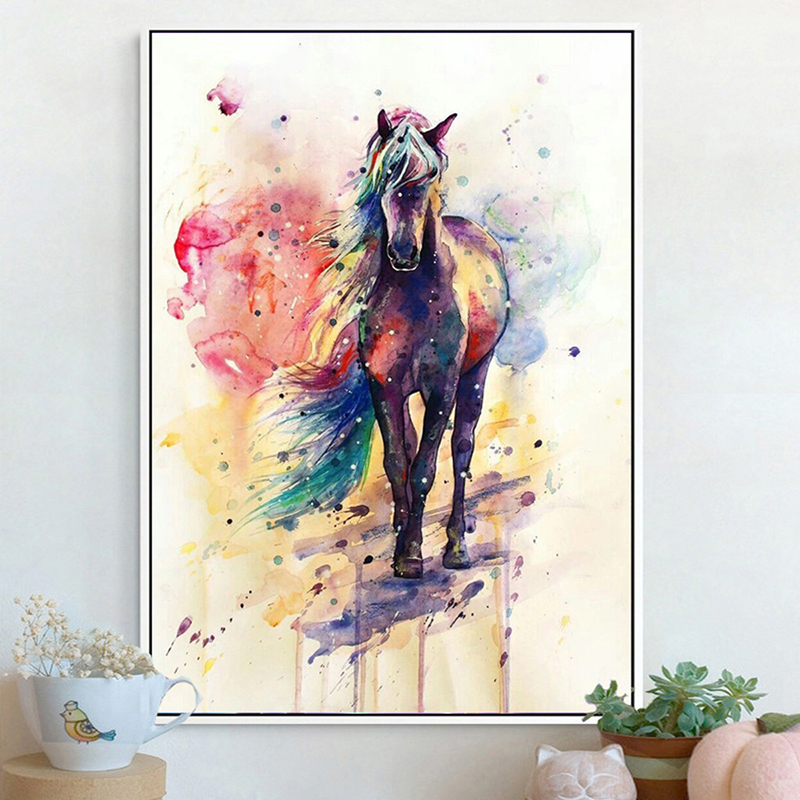 Icosy Creative Canvas Watercolor Horse Painting Home Decoration Personality Frameless Tapestry Wall Hanging Printed Decoration