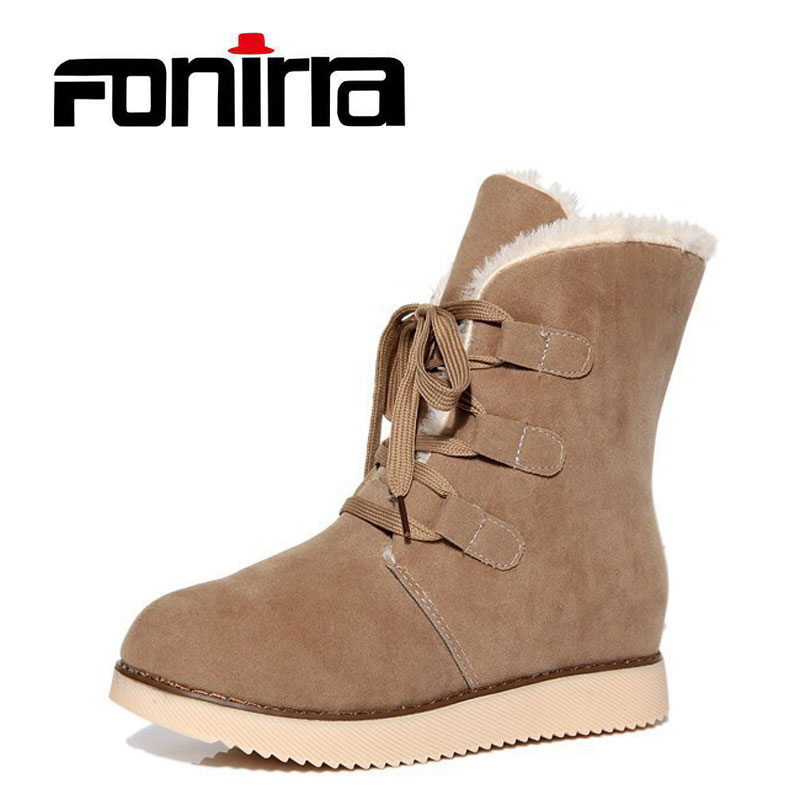 FONIRRA High Quality Shoes Woman Lace Up Warm Boots Ladies Snow Boots Plush Insole Winter Boots botas ug australia mujer 216