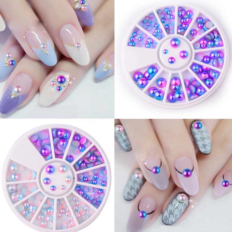 3D Nail Art Decorations Pearl Flat Back Design Gradient Colourful Wheel Tips Decoration Jewelry Manicure Nail Decor Accessories