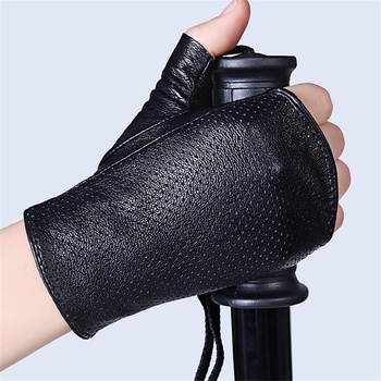 Genuine Leather Sheepskin Semi-Finger Gloves Female Spring And Summer Dance Breathable Cutout Slip-Resistant Half Finger XJ01-5 genuine leather gloves female semi finger sunscreen motorcycle half finger gloves women short design spring and autumn thin g154
