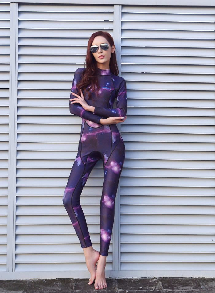 Hisea Nylon Womens Diving Suits One-Piece Long-sleeved Wetsuit Full Body Surfing Swimsuits Starry Sky PrintedHisea Nylon Womens Diving Suits One-Piece Long-sleeved Wetsuit Full Body Surfing Swimsuits Starry Sky Printed