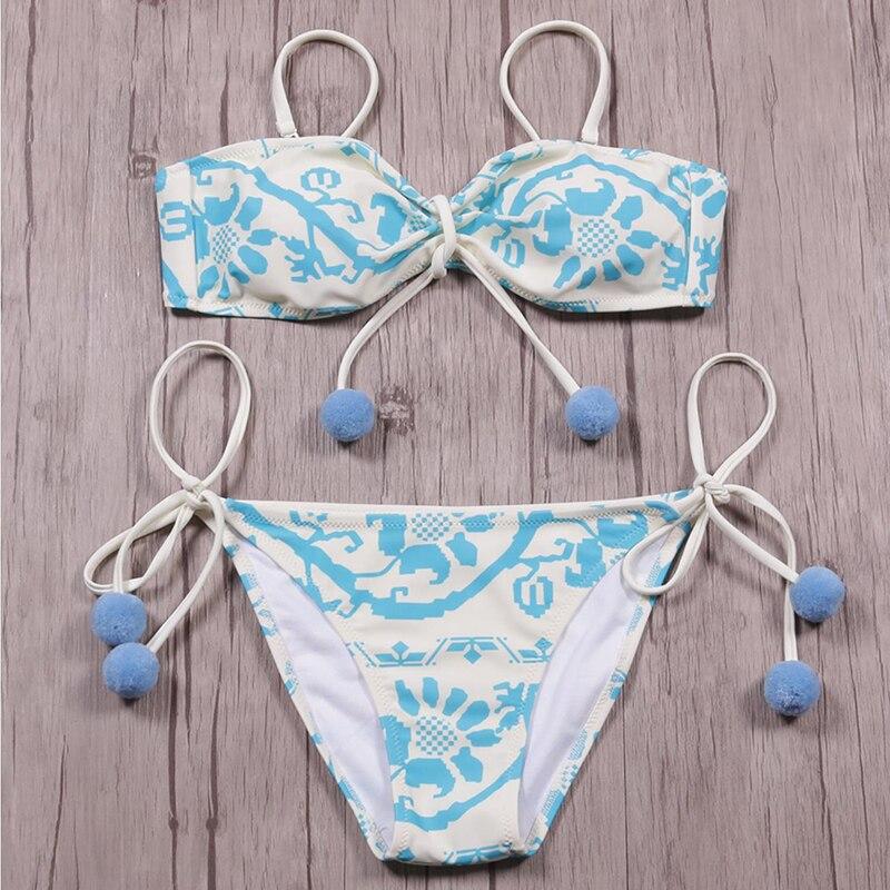 9da03bcb59 sexy vintage print baby blue tropical pompon low waist wire free brand girl  women bikini set swimwear new swimsuit bathing suit   Oceania