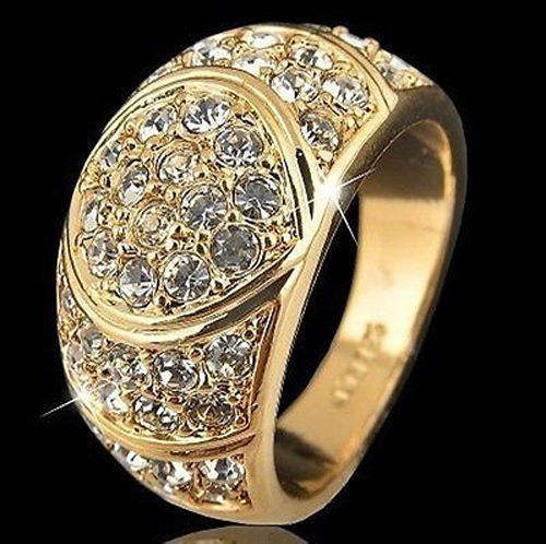 free shipping Noble beautiful Yellow Color Mens Jewelry use Ring Size :7 8 9 10 3F4T
