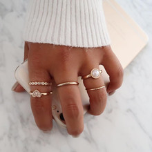 New 5 Pcs/set Womens Sweet Romantic Pearl Love Heart Crystal Adjustable Geometric Gold Ring Set Ladie Party Jewelry Accessories