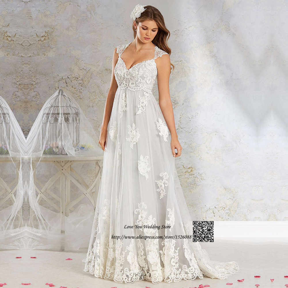 ac35858242 ... Noiva de Renda 2017 Plus Size Empire Vintage Wedding Dresses Pregnant  Women Indian Bridal Gowns Maternity Bride Dress on Aliexpress.com
