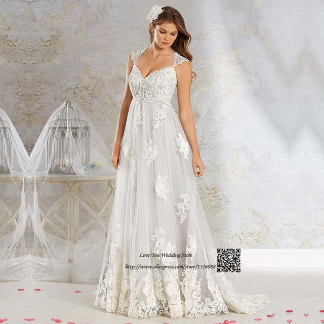 087f5daa53845 US $123.24 22% OFF|Vestido de Noiva de Renda 2017 Plus Size Empire Vintage  Wedding Dresses Pregnant Women Indian Bridal Gowns Maternity Bride Dress-in  ...