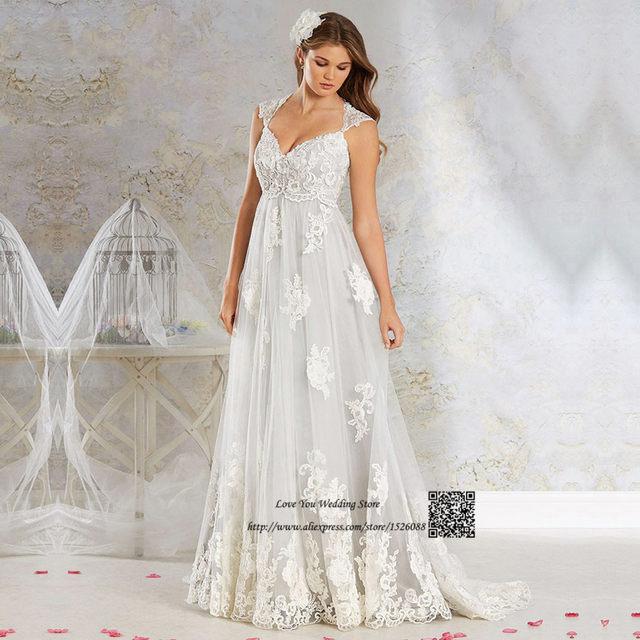 Vestido De Noiva Renda 2017 Plus Size Empire Vintage Wedding Dresses Pregnant Women Indian Bridal Gowns Maternity Bride Dress