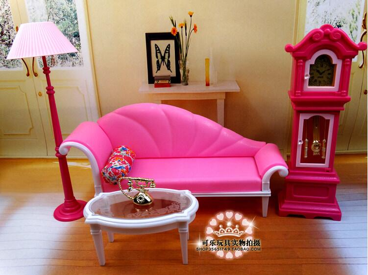 The New Large Scale Furniture Accessories Pink For Barbie Dream Living Room Sofa Stylish Home