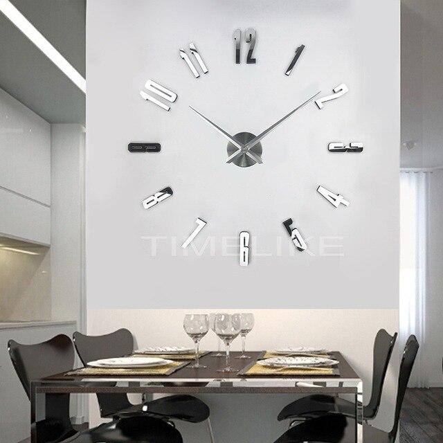 93a9368cf90da5 2018 Nouvelle Grande Horloge Murale Design Moderne Miroir Stickers Muraux  3D DIY Horloge Horloge Murale Home