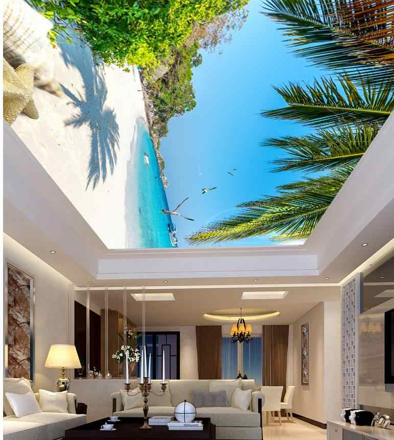 Custom 3d photo wall paper ceilings Sea Beach ceiling 3d mural paintings Home Decoration