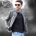 FREE SHIPPING 2017 New Men Retro Vintage Black Leather Motorcycle Jacket Slim Short Plus Size 3XL Real Thick Cowskin Biker Coat