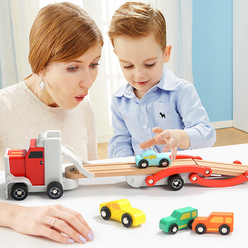 Diecast Removable Truck Wooden Toys Set Tractor Car Model Double Track Shelf Slide Rail Car Educational