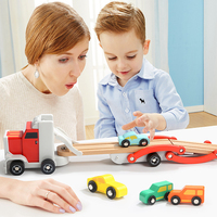 Diecast Removable Truck Wooden Toys Set Tractor Car Model Double Track Shelf Slide Rail Car Educational Toys For Children's Gift