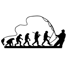 CS-1398#24*12cm Fisherman evolution funny car sticker vinyl decal silver/black for auto stickers styling