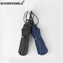 SHOWERSMILE Wind Resistant Folding Automatic Umbrella For Men Windproof Bumbershoot Solid Black Navy Burgundy Male