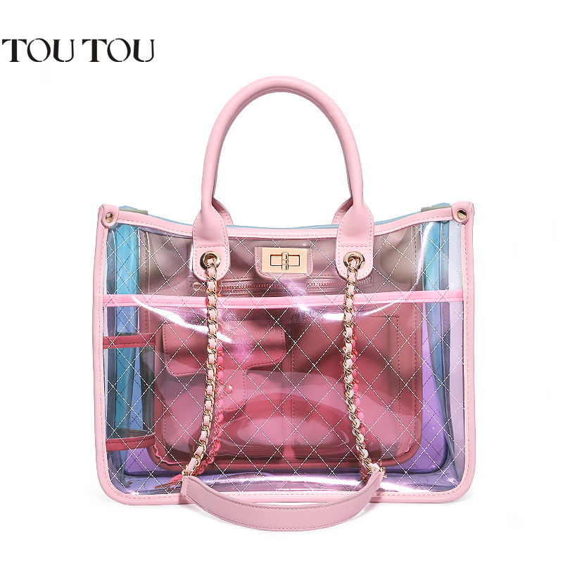 TOUTOU Jelly bag in 2018 the new small fairy transparent fashion handbag with a single shoulder and shoulder bag Free shipping