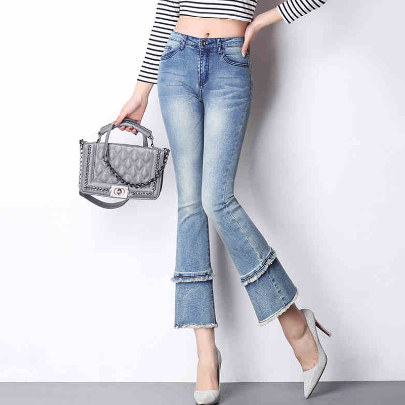 {Guoran} High Waist women 2017 summer flare jeans pants ankle length plus size female denim jeans trousers boy friend loose pant киплинг р киплинг сказки