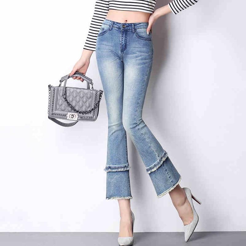 {Guoran} High Waist women 2017 summer flare jeans pants ankle length plus size female denim jeans trousers boy friend loose pant vintage peter pan collar long sleeve polka dot elastic waist women s dress