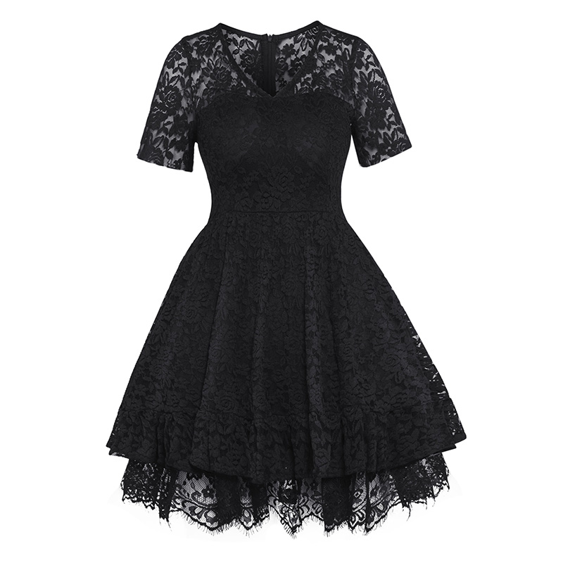 Women Lace Ball Gown Dress Vintage Short Sleeve V-Neck A-line Dress Summer Party Gothic Elegant Celebrity Black High Waist Dress
