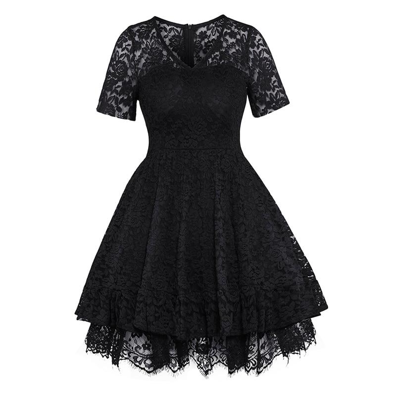 Women Lace Ball Gown Dress Vintage Short Sleeve V-Neck A-line Dress Summer Party Gothic Elegant Celebrity Black High Waist Dress