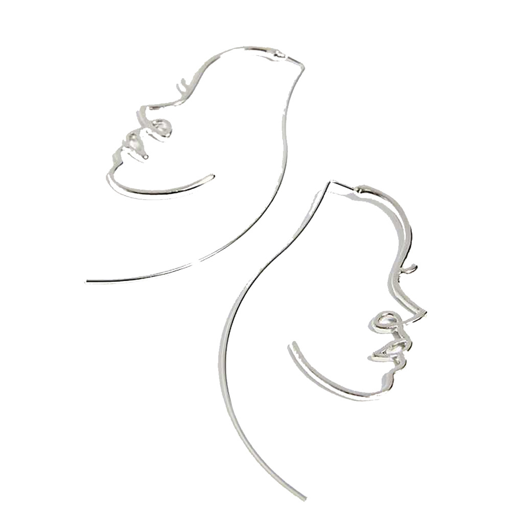 The gold silk portrait earrings for woman individuality popular face earring silver ornaments earring E22 in Drop Earrings from Jewelry Accessories