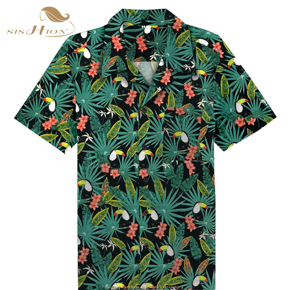 SISHION 2019 New Toucan Floral Print Men Shirt ST124 Short Sleeve Palm Springs Cocktail Button Up Shirts Camiseta Hombre