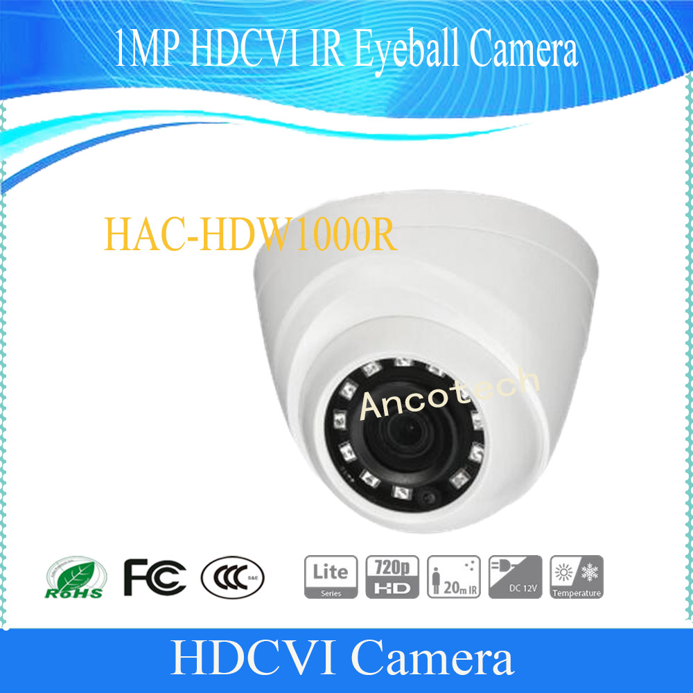 Free Shipping DAHUA CCTV Security Camera 1MP 720P IR HDCVI Mini Dome Camera without Logo HAC-HDW1000R dahua hdcvi dome camera 1mp 720p mini ir hdcvi camera security ip camera cctv 30m ir distance ip67 without logo hac hdw1100r vf