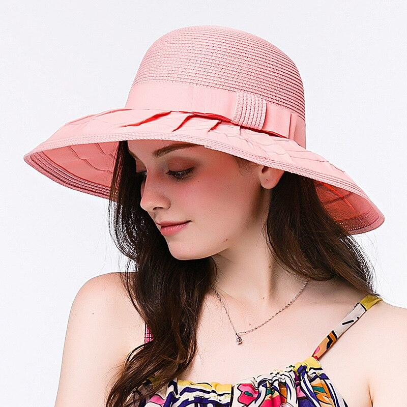 JKP D'été plage occasionnels de paille élégant chapeau grand bord balnéaire vacances arc visière soleil chapeau de mode Femme chapeaux nouveau remise MZ-14
