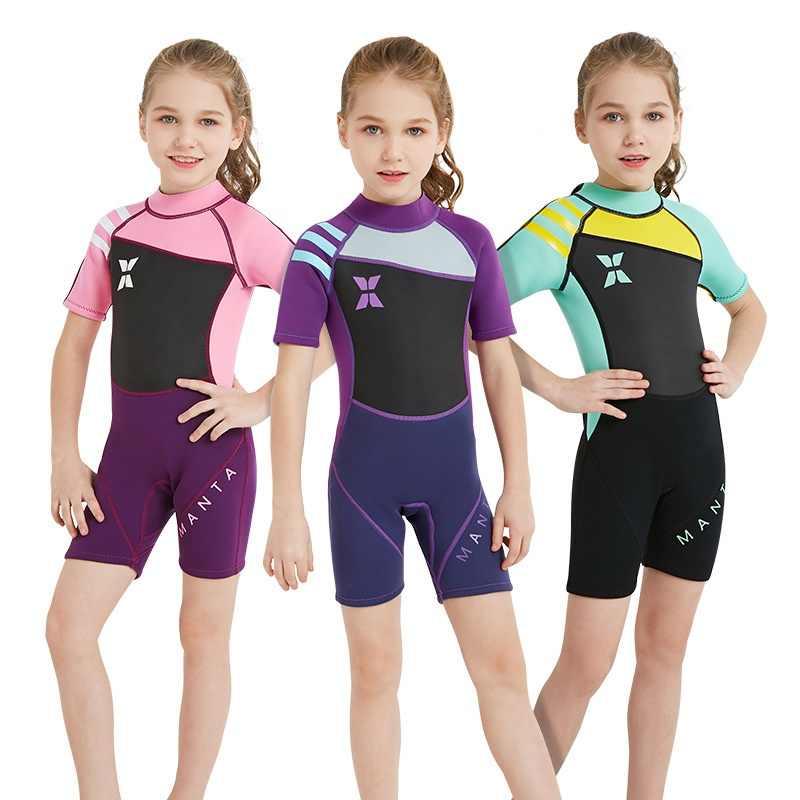 Tek Parça 2.5 MM Çocuklar Kız Kısa Kollu Dalış Shorty Wetsuit Yüzmek sörf kıyafeti Sıcak Tutmak UV Koruma Mayo